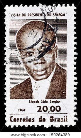 BRAZIL - CIRCA 1966 : Cancelled postage stamp printed by Brazil, that shows Leopold Sedar Senghor.
