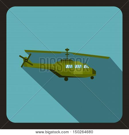Military helicopter icon in flat style with long shadow vector illustration