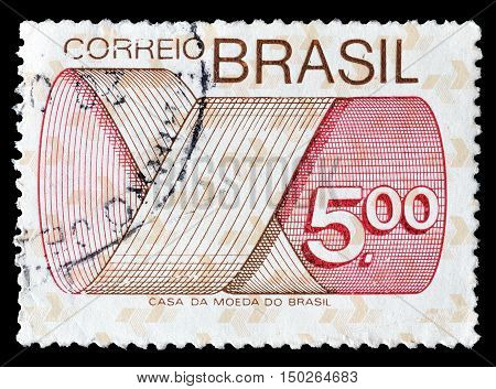 BRAZIL - CIRCA 1974 : Cancelled postage stamp printed by Brazil, that shows Mobius strip.
