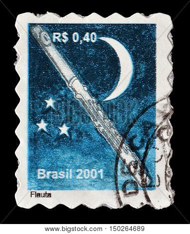BRAZIL - CIRCA 2001 : Cancelled postage stamp printed by Brazil, that shows Flute.