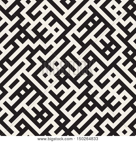 Vector Seamless Black And White Irregular Maze Grid Pattern. Abstract Geometric Background Design