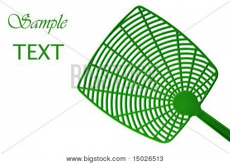 Simple green fly swatter on white background with copy space. Concept- environmentally friendly pest control.