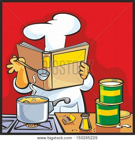 Chef preparing soup and holding recipe cookbook. Table in restaurant kitchen interior. Flat vector color illustration.