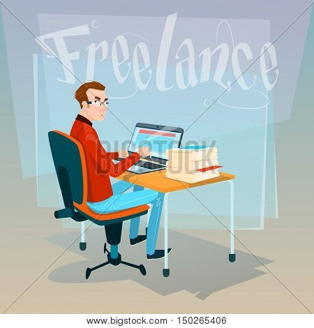Casual Business Man Freelancer Working Laptop Computer Flat Vector Illustration