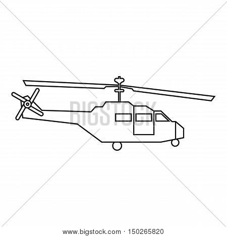 Military helicopter icon in outline style isolated on white background vector illustration
