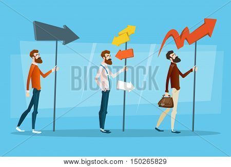 Business People Choose Path Way Sign Board Road Flat Vector Illustration