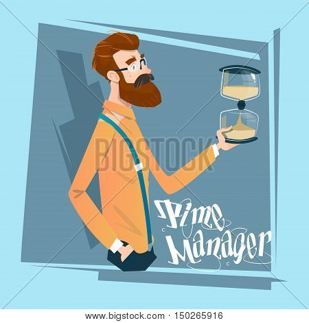 Business Man With Sand Watch Time Management Concept Flat Vector Illustration