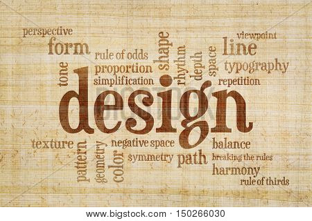 design elements and rules word cloud on a papyrus paper