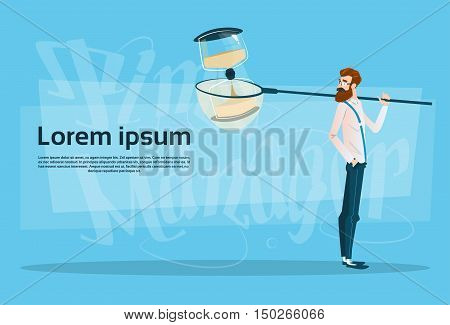 Business Man With Sand Watch Time Management Banner Flat Vector Illustration