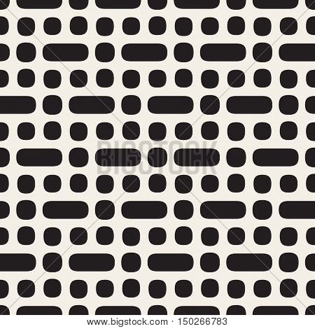 Vector Seamless Black And White Rounded Pattern. Abstract Geometric Background Design