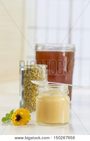 bee pollen with Royal gelly and honey in glass jar