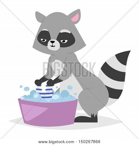 Funny raccoon isolated on white background. Game animal adorable mammal raccoon vector character. Cute animal nature isolated wildlife raccoon funny cartoon pet.