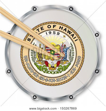 Hawaii state seal snare drum batter head with tuning screws and with drumsticks over a white background