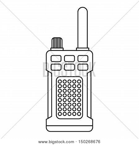 Portable handheld radio icon in outline style on a white background vector illustration