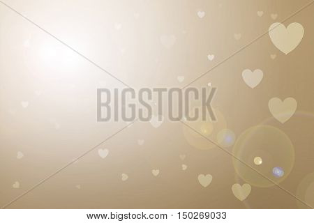 Blurred background of Valentine's day concept. Valentines Day Card. Pastel color tones.Brown white hearts .