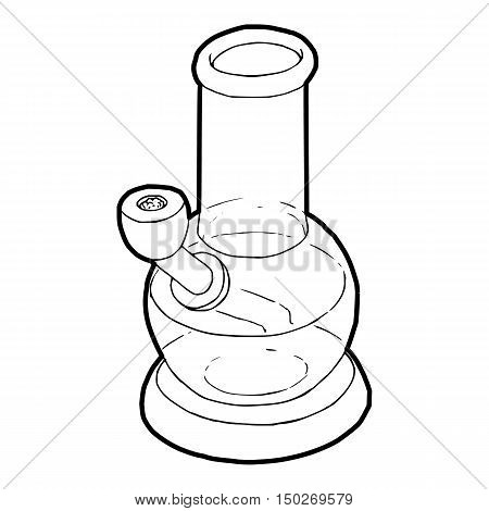 Bong for smoking icon in outline style on a white background vector illustration