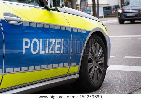 German Polizei Police Car Sports Fast Wheel Asphalt Mirror Blue