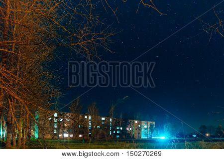 The night the starry sky on multifamily houses