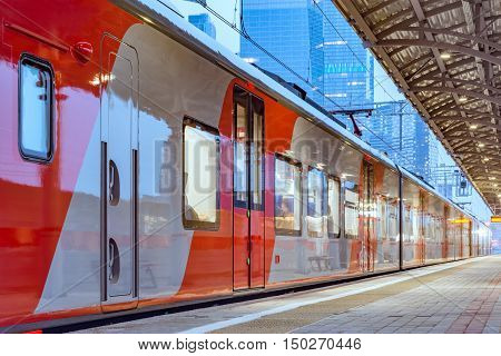 Moscow Russia - October 03 2016: Lastochka train stands at the station Shelepikha of Moscow Central Circle MCC.