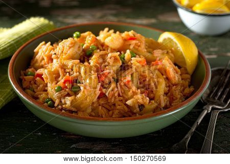 A bowl of delicious cuban Arroz con Mariscos - rice with seafood.
