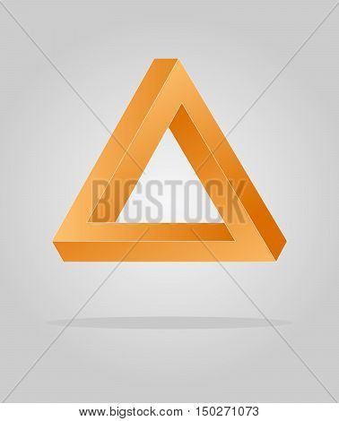 Orange optical illusion triangle infinity loop in grey background
