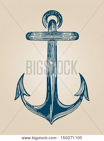 Blue vintage anchor draw in blue color