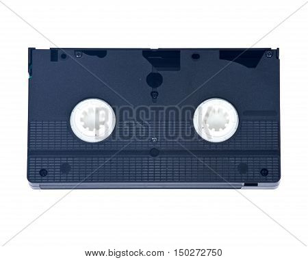 Video home system, tape, cassette separated on white background