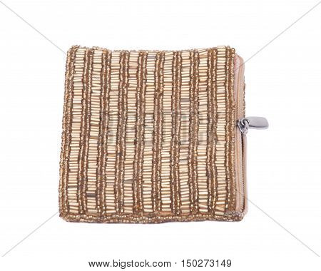 Zipped coin purse separated on white background