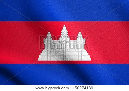 Cambodian national official flag. Patriotic symbol banner element background. Accurate dimensions. Correct size colors. Flag of Cambodia waving in the wind with detailed fabric texture, 3d illustration