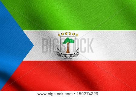 Equatorial Guinean national official flag. African patriotic symbol banner element background. Correct size colors. Flag of Equatorial Guinea waving in the wind with detailed fabric texture, 3d illustration