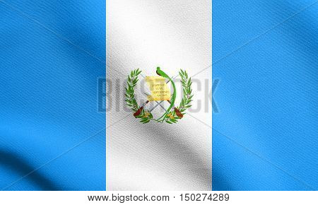 Guatemalan national official flag. Patriotic symbol banner element background. Accurate dimensions. Correct size colors. Flag of Guatemala waving in the wind with detailed fabric texture, 3d illustration