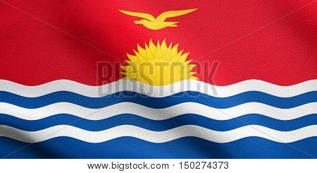 Kiribati national official flag. Patriotic symbol banner element background. Accurate dimensions. Correct size colors. Flag of Kiribati waving in the wind with detailed fabric texture, 3d illustration