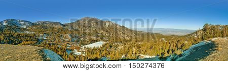 Panorama of Mt. Rose in winter. Mt. Rose is a mountain located near Lake Tahoe and few ski centers.
