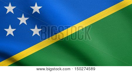 Solomon Island national official flag. Patriotic symbol banner element background. Accurate dimensions. Correct size colors. Flag of Solomon Islands waving in the wind with detailed fabric texture, 3d illustration
