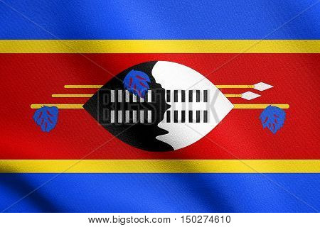 Swazi national official flag. Patriotic symbol banner element background. Accurate dimensions. Correct size colors. Flag of Swaziland waving in the wind with detailed fabric texture, 3d illustration