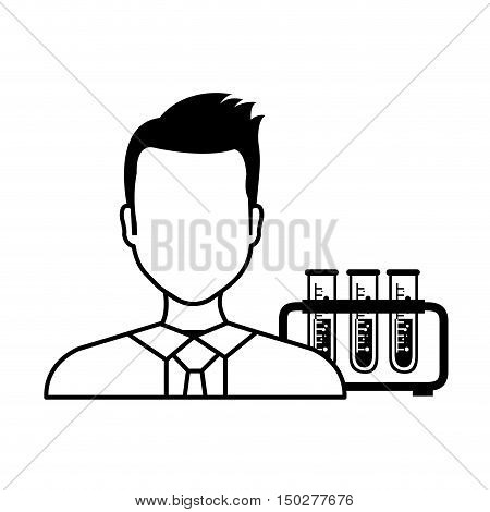 avatar man laboratory doctor with test tubes silhoutte. vector illustration