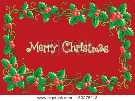 Merry Christmas card. Vector christmas holly decoration  on  red background