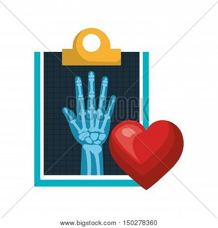 X ray digital medical healthcare radiology and red heart. vector illustration