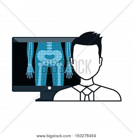 X ray digital medical healthcare radiology and avatar man doctor. vector illustration