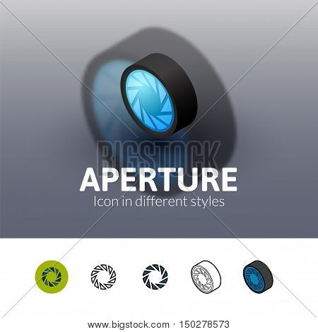 Aperture color icon, vector symbol in flat, outline and isometric style isolated on blur background
