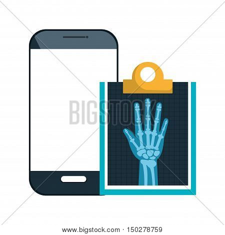 smartphone device and X ray digital medical healthcare radiology. vector illustration