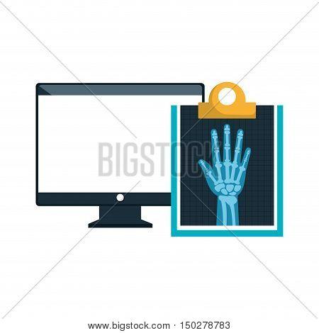 monitor computer and X ray digital medical healthcare radiology. vector illustration