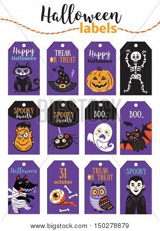 Set Halloween printable cards and labels with cartoon cute pumpkin, ghost, bat, black cat, owl, wolf, sceleton and mummy. Vector illustration