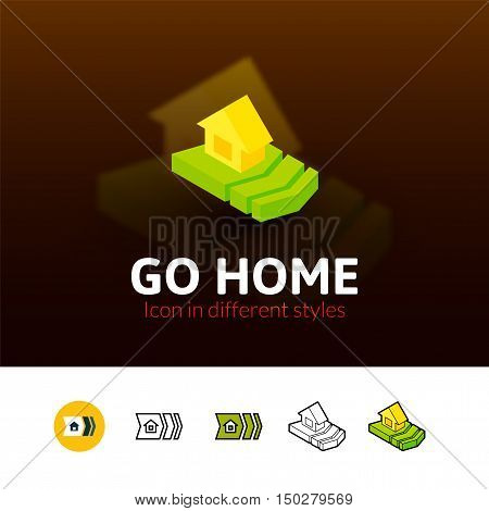 Go home color icon, vector symbol in flat, outline and isometric style isolated on blur background