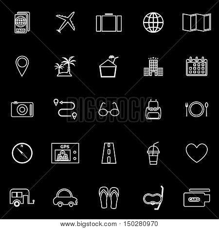 Trip line icons on black background, stock vector
