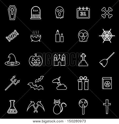 Halloween line icons on black background, stock vector