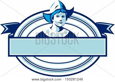 Illustration of a Dutch lady wearing traditional dutch cap or dutch bonnet that resemble a nurse's hat facing front set inside oval shape with ribbon done in retro style.