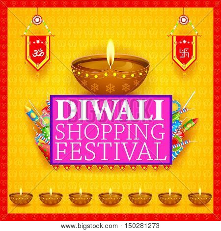 easy to edit vector illustration of Decorated diya with cracker for Happy Diwali holiday shopping sale offer background