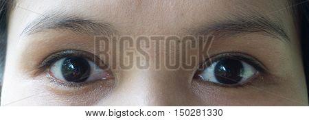 Close up black eye woman asia ,no makeup