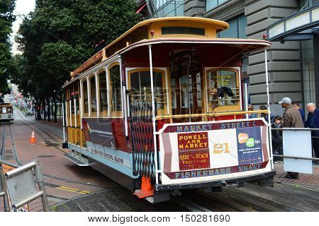 SAN FRANCISCO - MARCH 14: Antique Cable Car on Powell Street on March 14th, 2014 in San Francisco, California, USA.